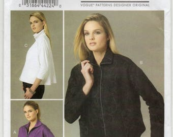 Loose Fitting Unlined Jacket With Collar Exposed Front Zipper Closing Size 8 10 12 14 16 Sewing Pattern Marcy Tilton Vogue 8779