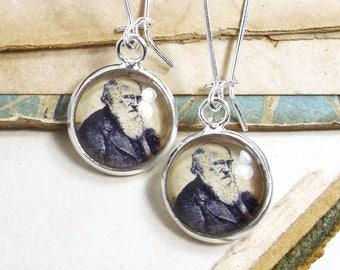 Charles Darwin Earrings in Bronze or Silver