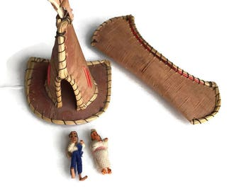Vintage Birch Bark Teepee and Canoe Native American Figurines