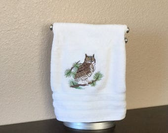 Owl in Pines machine embroidery on cream cotton terry cloth hand towel
