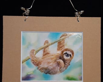 Sloth watercolor mini print magnet with hanger