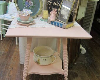 Hand Painted Pink Oak Table Vintage Shabby Chic Farmhouse Prairie Cottage