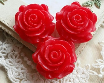 27 mm  Red Color Rose Resin Flower Cabochons(.hm)