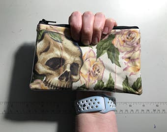 Zippered Pouch - Skull and Roses coin purse/change purse