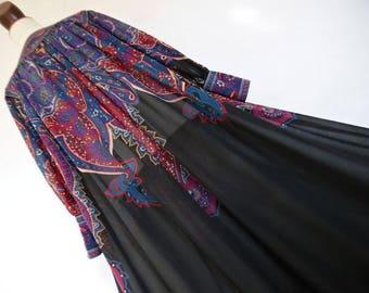 SALE :)) DENMARK . Nordic Paisley . Amazing Art Nouveau Print Maxi Dress 70s M Scandinavian