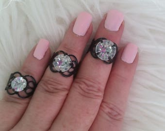 3 midi adjustable black rhinestone rings bling