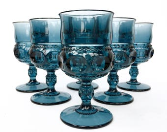 Vintage Blue Glass Goblets Midcentury Glassware Indiana Glass King's Crown Thumbprint Goblet Drinking Glasses Vintage Drinkware Set of 6