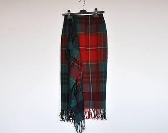 Vintage Ralph Lauren Plaid Wool Blanket Wrap Maxi Skirt