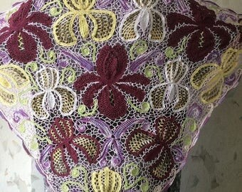 ON SALE - 10% OFF Irish crochet shawl....Iris  lace wrap...