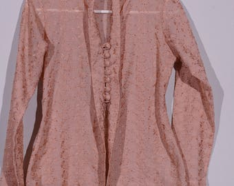 Vintage dusty Rose tone embroidered eyelett blouse ala 1950s