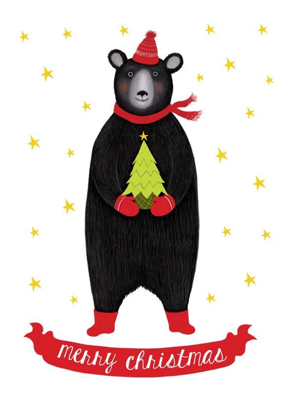 Merry Christmas Little Black Bear Card