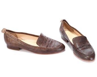 Leather LOAFERS Shoes 90s Slip On Brown Leather Moccasins Retro Europe Italy Penny Low Heel Shoes Size  Us women 6.5, Eur 36.5, Uk 4