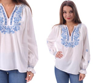 White MEXICAN Top 70s Embroidered Blouse Ethnic Floral Hippie Long Sleeve Raglan Shirt Tunic Boho Bohemian Festival Blue Flowers Retro Large