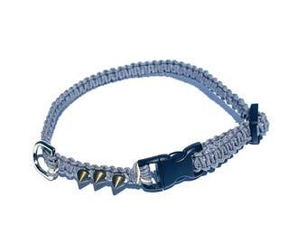 Grey Spike Hemp Collar, Small Dog, Cat, Kitten, Puppy Collar, Boho, Adjustable, Beach