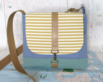 Reserved- Crossbody messenger bag - Vegan purse - Travel bag - Adjustable strap - Medium- Yellow - Stripes - Nautical - Made to order