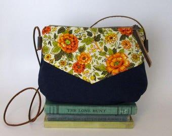 Marigold. Crossbody purse - Summer purse - Small canvas bag - Cross over -Festival purse - Floral - Orange - Navy blue - Ready to ship