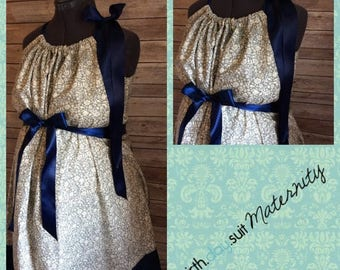 Memorial Day Sale! Maternity Hospital Gown: gray and cream floral, navy band