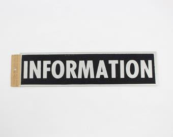 "Vintage HY-KO ""Information"" Sign - Self-Adhesive Aluminum Door Signage 2"" x 8"""