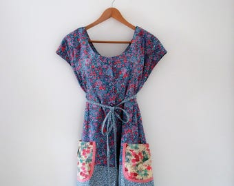 Vintage Style Pinny Tunic Frock Pink Mauve Teal Floral Dottie Angel  Reworked Laura Ashley Fabric One Size Fits Most
