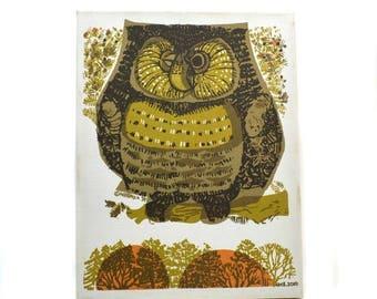 50% OFF David Weidman Papa Owl Screenprint Canvas Wall Hanging // 1970s Original Wall Art Reissue // Owl on a Branch