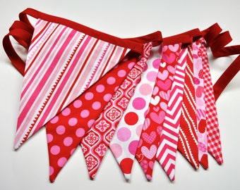 Valentines Day decor fabric pennant banner, bunting, red & pink valentines banner, cake smash photo prop, Valentines birthday party decor