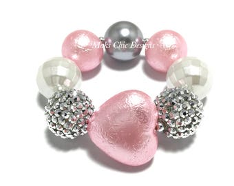 Toddler or Girls Silver, White and Pink Heart Chunky Bracelet - Pink Princess bracelet - Heart Chunky Bracelet - Pink Valentines Bracelet