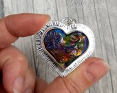 Silver and Glass Heart Pe...