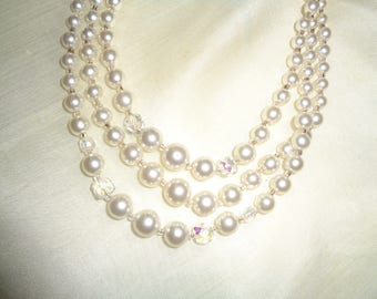 Vintage Three Strand Faux Pearl and Clear Crystal Beaded Necklace in Very Good Condition, A Great Piece of Timeless Classic Costume Jewelry