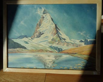 Original Oil Painting of THE EAST FACE  of the Matterhorn Mountain in Switzerland dated '48  and signed by The Artist, in Good Condition