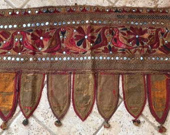 Indian Embroidered Mirrored Panel