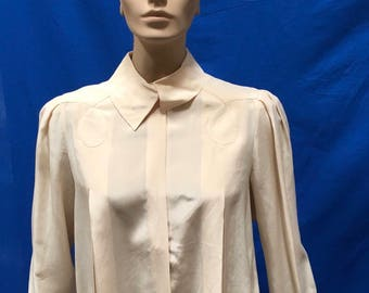 Silk Blouse Beige Oleg Cassini Button Front Shirt Top