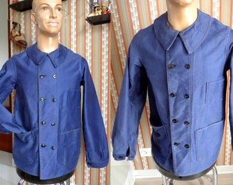 Amazing French Vintage 1940's Work Jacket in Blue Moleskine or Heavy Cotton - Size S
