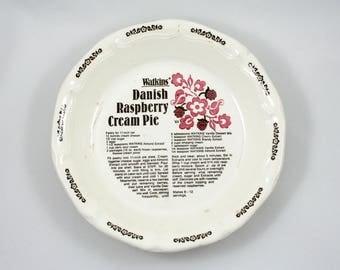 Vintage 1980s Watkins pie plate, Danish Raspberry Cream Pie recipe, decorative dish, baker, kitchen folk art, bakeware, oven baking dish