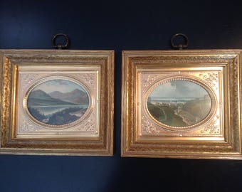 Antique hand colored prints in gilded frames from Sungott Art Studios - pair