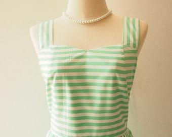 SALE Vintage Sundress Green white Stripe Dress Summer Dress Gift for Women Green Party Dress Spring Dress Vintage Modern Dress , Size M