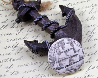 StudioStJames Artisan Crafted Polymer Clay 36mm Focal Nautical Pendant Cabochon-Replica of Scrimshaw Art-Whaler Ship-White Black PA 100784