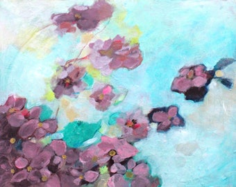 """Small Abstract Floral Painting, Loose Brushstrokes, Soft, Inspired by Nature """"Wind Kissed"""" 11x14"""""""