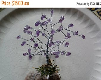 Etsy On Sale Amethyst Gemstone Tree, Silver Wire Wrapped, Mounted on a Natural River Stone, Great Gift, Christmas, Mom, Dad, Siste