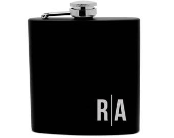 Personalized Flask Print 6oz Black Stainless Steel  your initials 0009