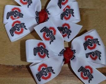 Set of Two Ohio State Buckeyes Hair Bows OSU