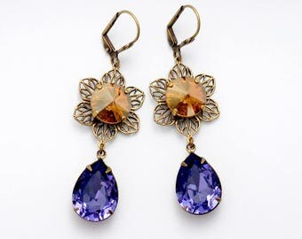 Purple Rhinestone Earrings, Nickel Free Brass Leverback Earrings, Brown Crystal Jewelry Purple Drop Earrings, Brown Rhinestone Jewelry, Erin
