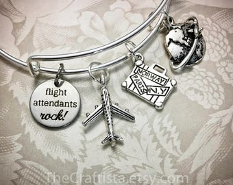 FA, Flight Attendants Bracelet, Stewardess Bangle, Stewardess Charm, Stewardess Gift, Gifts for Flight Attendants, Flight Attendants Jewelry