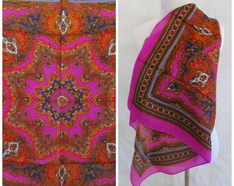 Vintage Casmilon Scarf Exotic Fuscia Hot Pink Neon Orange Bohemian Hippie Psychedelic Pattern Made in Japan
