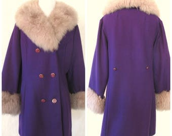 Majestic Vintage '60s Sears Purple Wool Coat Faux Fur Collar and Sleeve Cuffs Double-Breasted Size Medium 8 10 12