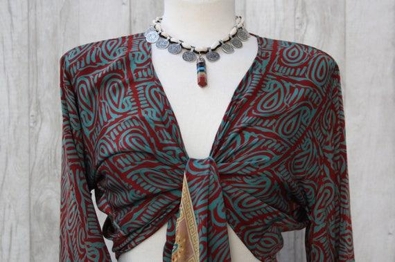 INDIAN SILK TOP - Bell sleeve crop top- Silk Tie Top- Vintage- Festival Top- Hippie- Retro- 70s- Crop Top- 100% Silk- Couture