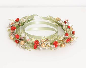 Red Green Gold Flower Crown, Floral Head Wreath, Winter Wedding Crown, Greenery Headpiece, Holiday Headband, Red Gold Wedding, December