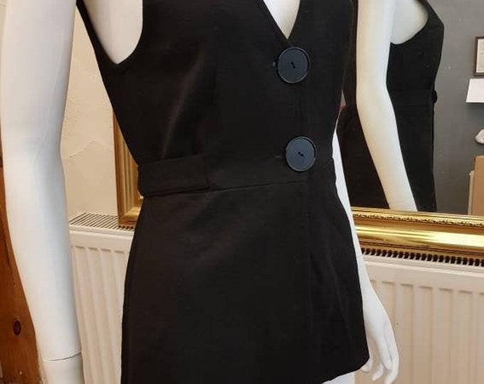 Classic Vintage 70s Dorothy Perkins Tie Back Button Up Black Sleeveles Top Waistcoat Gilet 1970s VTG M