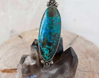 Chrysocolla ring in sterling silver. Blue statement ring. Gift for her. Ready to ship. Inner Wisdom OOAK Ring with Chrysocolla SZ 6 1/2