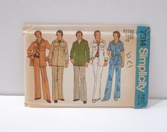 Disco Leisure Suit Sewing Pattern Uncut Vintage McCalls 3521 Mens Safari Suit Yoked Suit Size Chest 42 44 1970s High Waist Jacket Pants