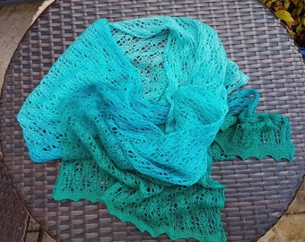 Ariel; Gradient-dyed knitted lace stole/scarf/shawl in fine merino wool